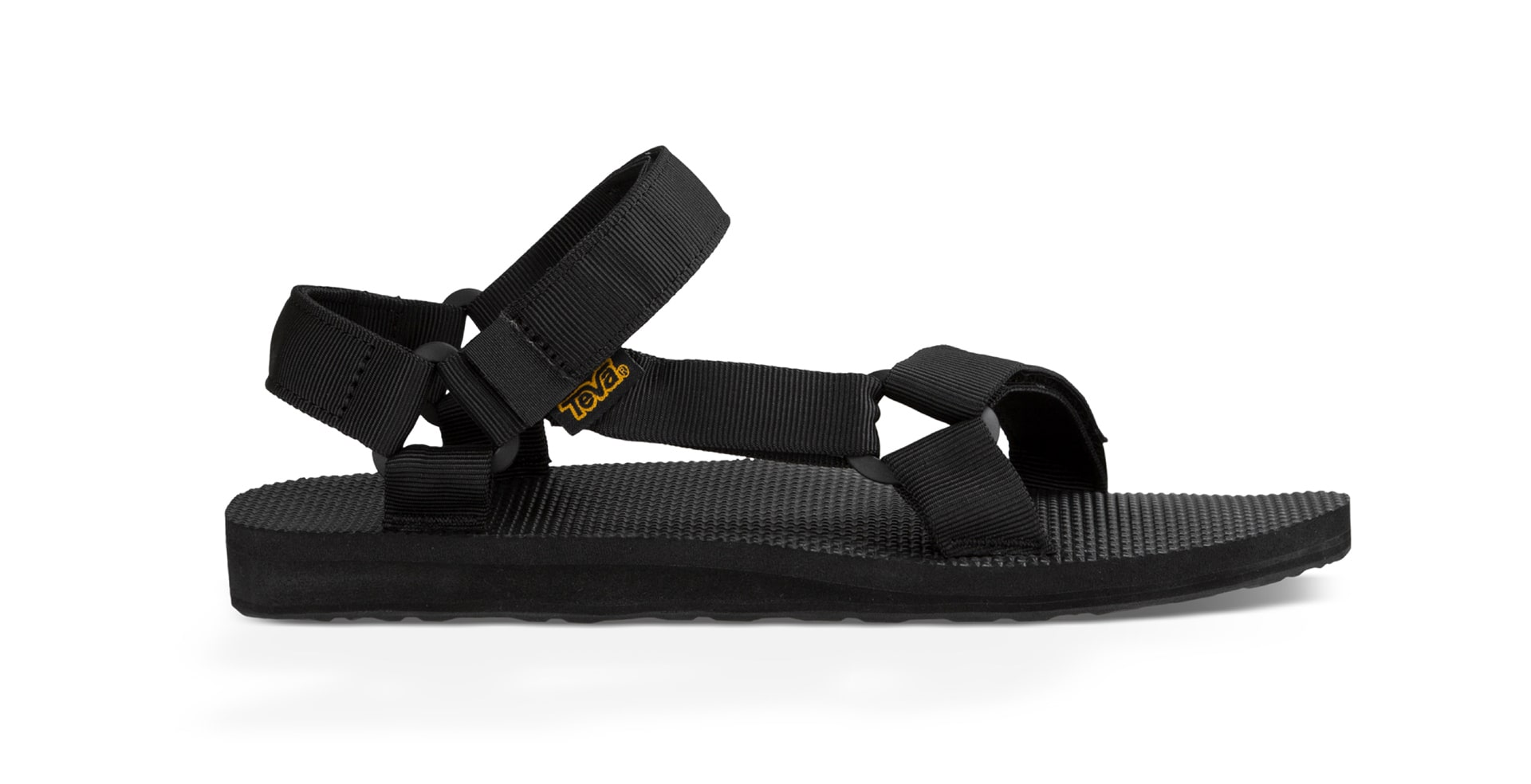 Classic black Teva sandal on white background.