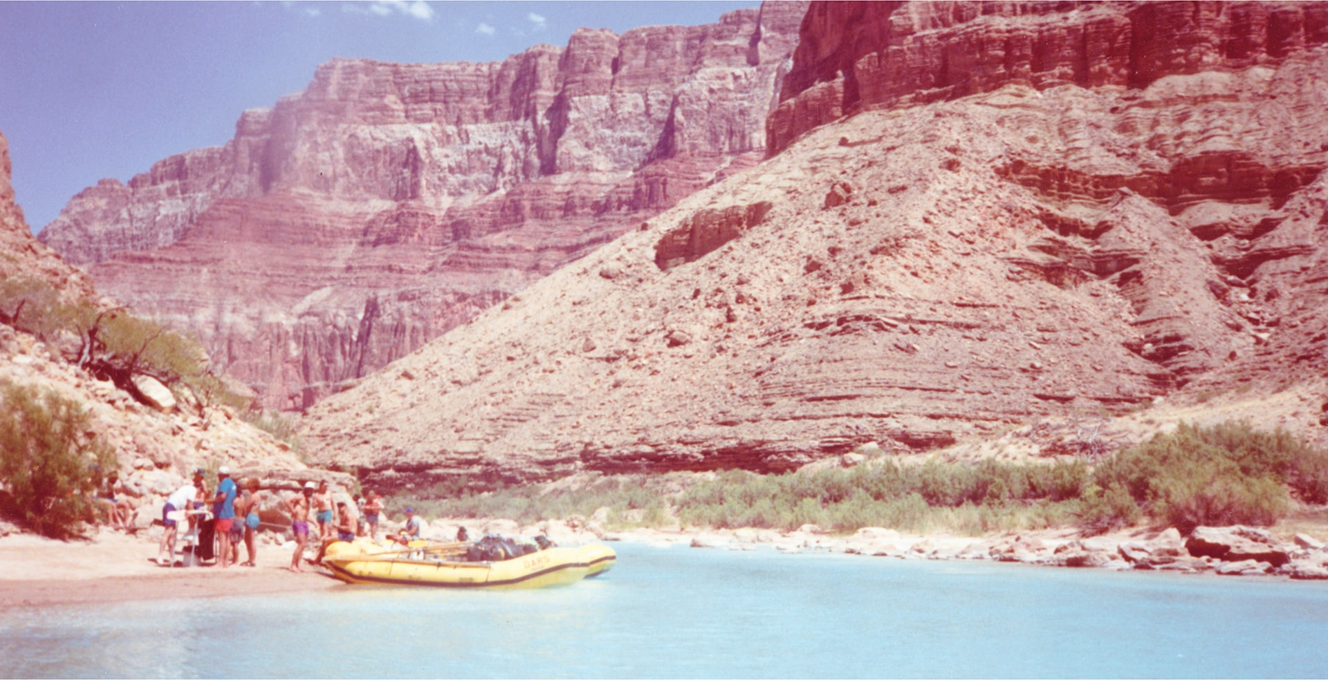 Vitage photo of Grand Canyon rafting trip.